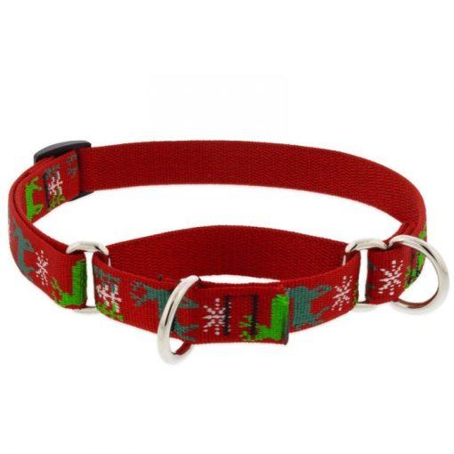 LUPINE Félfojtó nyakörv (Happy Holidays- piros 1,9 cm széles 26-35 cm )