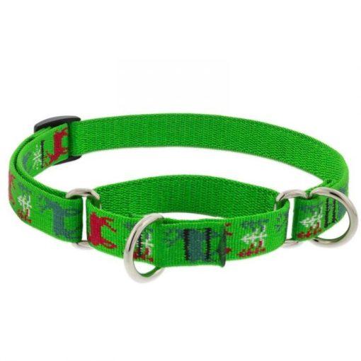 LUPINE Félfojtó nyakörv (Happy Holidays- zöld 1,9 cm széles 26-35 cm )